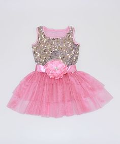 d1b368924 Loving this Mia Belle Baby Silver   Pink Sequin Ruffle Dress - Toddler    Girls on
