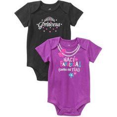 Newborn Baby Girl Spanish Attitude Bodysuits, 2-Pack, Size: 3 - 6 Months, Purple