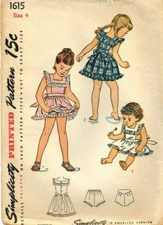 8825bbf78b262 Little Girls Pinafore & Panties Vintage Sewing Pattern Size 4 Breast 23  Simplicity 1615 apron sundress play dress from 1946 summer
