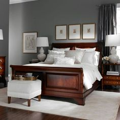 Grey color scheme and white bedding. Newport Sommerset Bedroom by Ethan Allen.