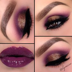 Crease/Poison Plum @Sugarpill Cosmetics Cosmetics and Fig from Mac  Outer corners/Onyx @Motivescosmetics   Lid/Amber lights (MAC) with Magic Dust glitter over top from @Motivescosmetics   Liner/  Little black dress gel liner from @motivescosmetics   Brows/@Anastasiabeverlyhills brow powder duo in Dark Brown with Espresso brow gel over ...