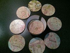 Parafa poháralátét térkép mintával.