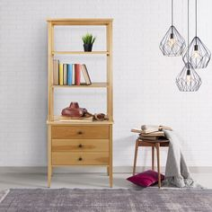 American Trails Edison Mid Century Modern Maple Wood Bookcase with Drawers