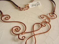 Copper Necklace by LilyGirl Jewelry Copper Wire Jewelry, Wire Jewelry Designs, Pendant Jewelry, Jewelry Crafts, Beaded Jewelry, Jewelry Necklaces, Jewelry Ideas, Copper Art, Wire Jewellery
