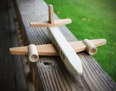 Wood Plane Handmade here at the wood shop =) This toy plane will be a huge hit with your kids or grand-kids, or even adults! DIMENSIONS: 11 long from tip. Wooden Airplane, Wooden Toy Cars, Airplane Toys, Wood Block Crafts, Wood Crafts, Wood Projects, Metal Toys, Wood Toys, Woodworking For Kids