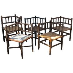 Collection of Bobbin Corner Chairs | From a unique collection of antique and modern corner chairs at https://www.1stdibs.com/furniture/seating/corner-chairs/