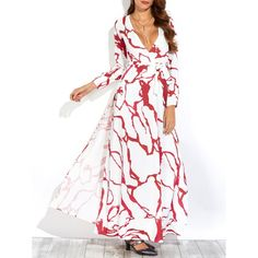 Printed Long Sleeve Maxi Dress In White | Twinkledeals.com