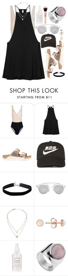"""""""Untitled #606"""" by ssm1562 ❤ liked on Polyvore featuring Solid & Striped, RVCA, Birkenstock, NIKE, Miss Selfridge, Christian Dior, Michael Kors, Latelita, beach and summerdate"""
