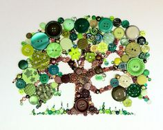 Tree of Life Button Art with Swarovski Rhinestones by BellePapiers, $84.00