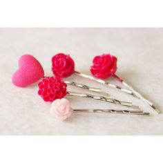 Valentine Hair Clip Set Red Heart Hair Pin Set Pink Flower Bobby Pin... (380.215 IDR) ❤ liked on Polyvore featuring accessories, hair accessories, black, flower hair accessories, hair pins, pink flower hair clip, pink hair pins and flower hair clips
