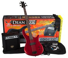 Dean Starter Bass Pack with Edge 09 Bass, Metallic Red. Complete bass guitar package, great for beginners. Includes red Edge 09 (E09) electric bass, Bassola 10 Amp, gig bag, tuner, cord, strap, and picks. Sharp-looking, lightweight bass is contoured for comfort. Custom neck joint and heel plus asymmetrical four-bolt pattern creates uninterrupted access to the neck. Bass amp provides 10 watts of power from single 8-inch speaker; headphone jack for private playing. Includes the Dean Edge 09...