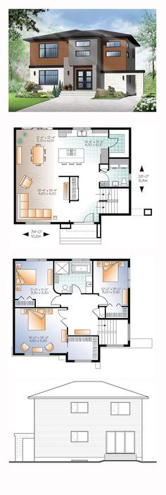 Modern House Plan 76368 | Total Living Area: 1880 sq. ft., 3 bedrooms and 1.5…