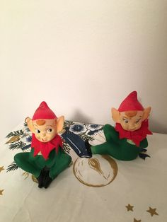 Vintage Christmas Pixie Elves Ornaments Red & Green Soft Plastic HTF Japan Set of 2 by VintageLove50 on Etsy