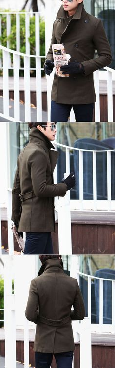 Outerwear :: Coats :: Uber-chic Slim Tweed Double Peacoat-Coat 38 - Mens Fashion Clothing For An Attractive Guy Look