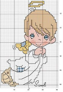 Charts Cross Stitch and Crafts: Angels Stitch And Angel, Cross Stitch Angels, Cross Stitch For Kids, Beaded Cross Stitch, Crochet Cross, Cross Stitch Baby, Cross Stitch Kits, Counted Cross Stitch Patterns, Cross Stitch Charts