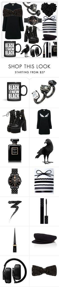 """""""Black is the new Black"""" by mariyushka ❤ liked on Polyvore featuring Oscar de la Renta, WithChic, Fendi, Chanel, Pottery Barn, Versace, INC International Concepts, Manic Panic NYC, Gucci and Christian Louboutin"""