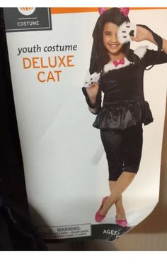 Cat Costume Girls Size 4/6 Deluxe Fur Tail Face Mask Hello Kitty Has Hat Mask #Unbranded #CompleteOutfit