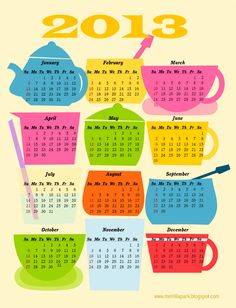 """Coffee break"": FREE printable 2013 calendar"