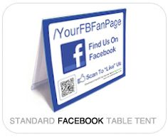 Custom Username Table Tent for Facebook Fan Pages - Simply input your Fan Page Username and FollowMeSticker.com will generate the QR code and create your Table Tents!