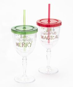 Take a look at this Cypress Home Holiday Sentiment Quirky Wine Goblet Set on zulily today!