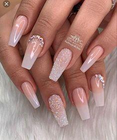 Bling Wedding Nails, Bride Nails, Prom Nails, Long Nails, Wedding Nails For Bride, Purple Wedding, Cute Acrylic Nail Designs, Ombre Nail Designs, Ombre Nail Colors
