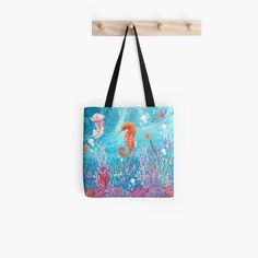 The beauty of a seahorse and marine life Tote Bag Large Bags, Small Bags, Cluch Bag, Cotton Tote Bags, Reusable Tote Bags, Bag Pins, Medium Bags, Marine Life, Handicraft