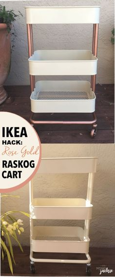 IKEA Hacks For The Bedroom - Rose Gold Raskog Cart - Best IKEA Furniture Hack Ideas for Bed, Storage, Nightstnad, Closet System and Storage, Dresser, Vanity, Wall Art and Kids Rooms - Easy and Cheap DIY Projects for Affordable Room and Home Decor http://diyjoy.com/ikea-hacks-bedroom