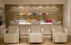 Peach Chairs With Decorative Stone Wall For Small Hair Salon Interior Design… … Home Hair Salons, Hair Salon Interior, Salon Interior Design, Home Salon, Beauty Salon Decor, Beauty Salon Design, Beauty Bar, Salon Shampoo Area, Shampoo Bar