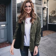 Nichole Ciotti looking chic in our classic Olive Green Hooded Cargo Jacket Cargo Jacket Outfit, Green Cargo Jacket, Chic Outfits, Fashion Outfits, Military Chic, Wardrobes, Timeless Fashion, Boyfriend Jeans, Fashion Boutique