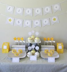 Twinkle Twinkle Little Star Baby Shower - PRINTABLE ONLY - Banner, Cupcake Toppers, Tags, Invitation and more. $25.00, via Etsy.