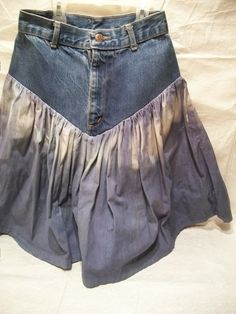 Hand Made Gypsy Skirt Altered Blue Jeans Skirt by GreenBeezArt, $38.99