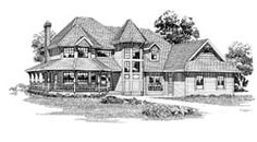 MonsterHousePlans - 35-385. Fantastic looking. Love the tower. 2551sqft. 4bed, 3bth. Kids all upstairs. Great master suite. Love the layout, just enough separation without feeling separate. Basement.