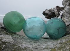 Authentic Glass Fishing Floats - Ocean Inspired Collection of 3, Alaska Beachcombed