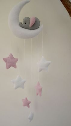 Sleepy elephant Moon and stars nursery decor ( white, grey, pink) in Baby, Nursery Decoration Furniture, Mobiles | eBay!