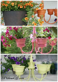 Genbrug lysekrone - gammel lampe lavet om til blomsterophæng - køb spraymaling i kreahobshop
