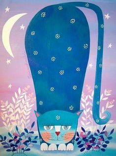 kitty cat in blue
