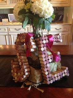 Initals display made from wine corks. Great when honoring an engaged couple or for a special anniversary.