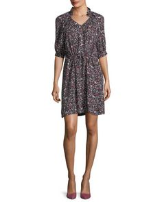 Split-Neck Half-Sleeve Floral-Print Mini Dress by Rebecca Taylor at Neiman Marcus.