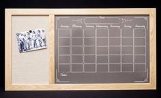 "Amazon.com: Large Fabric Board / Dry Erase Board Command Center - Framed Black ""Chalkboard"" Calendar & Bulletin Board: Handmade"