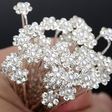 New 40PCS Bridal Crystal Pearl Flower Hair Pins Bridesmaid Wedding Jewelry Hair Clips U Pick Tiara Hair Jewelry Accessories(China (Mainland))