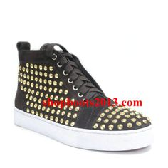 Christian Louboutin Louis Studded High Top Sneakers Brown Brown Sneakers, High Top Sneakers, Men Sneakers, Cl Shoes, Womens Flats, High Tops, Fashion Shoes, Christian Louboutin, Closet