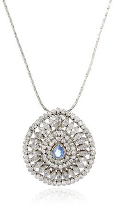 "Taara ""Praiano"" Silver Plated Blue and White Crystal Necklace Taara. $138.00. Made in India. Add sophistication to any outfit when worn with a shorter chain or add some trendiess to an outfit when worn on a longer chain!"