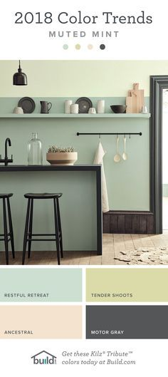 2018 Color Trends | Muted Mint, Black, Sage, Pale Pink, Charcoal | Paint Color Trends for 2018 | I absolutely love this color combination. So inviting!