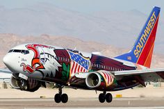 "Southwest Airlines Boeing ""Illinois One"" moments from touching the tarmac at Las Vegas-McCarran International, December (Photo: Juan Carlos Guerra) Aviation Humor, Civil Aviation, Aviation Art, Commercial Plane, Commercial Aircraft, Aircraft Structure, Airplane Painting, Airplane Decor, Airline Logo"