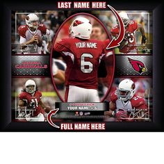 Arizona Cardinals NFL Football - Personalized Action Collage Print / Picture. Have you or someone you know ever dreamed about playing next to your favorite Arizona Cardinals players. You or someone you know can be right there in the locker room with Arizona Cardinals players! Optional framing with mat is available. Perfect for gifts, rec room, man cave, office, child's room, etc. ( www.oakhousesportsprints.com )
