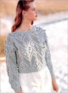 Пуловер изящный «Аранская романтика» вязанный спицами. Схема // Нина Клибанская