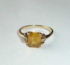 Art Deco Yellow Sapphire Diamond Ring