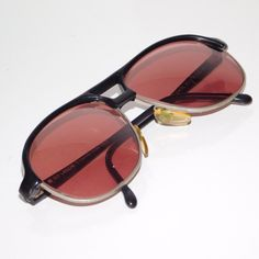 Rare Classic 1980s Vintage Guy Laroche SAUL Eyewear Italy Black Aviator Frames Red Lenses Sunglasses Glasses Eyeglasses Retro Classic