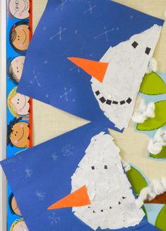 that artist woman: How to make a Snowman Banner (I pinned for this torn paper snowman I can see using with my younger children) Pre school Winter Crafts For Toddlers, Christmas Crafts For Kids, Christmas Art, Winter Art Projects, Winter Project, Make A Snowman, Snowman Crafts, Kindergarten Art, Preschool Crafts