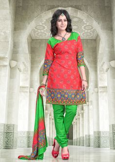 Orange and parrot green printed #cottonsalwarkameez comes with printed cotton dupatta.